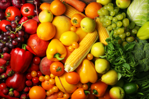 A rainbow of fruits and vegetables.